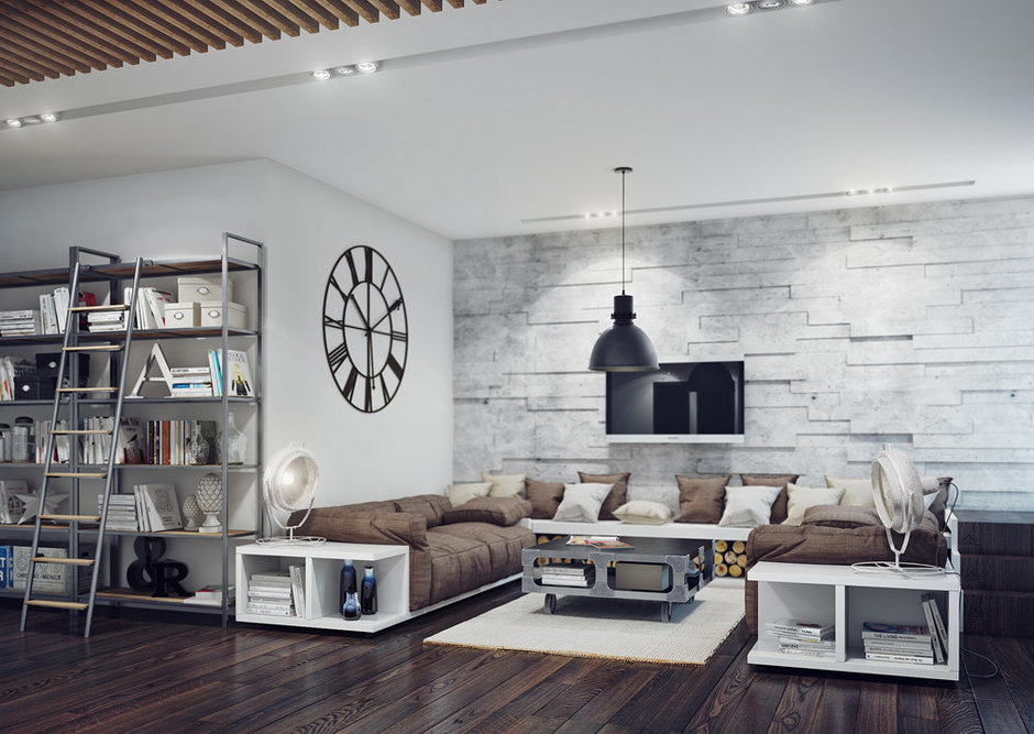 Фотография: Гостиная в стиле Лофт, Современный, Декор интерьера, Квартира, Декор, Мебель и свет, Проект недели – фото на InMyRoom.ru