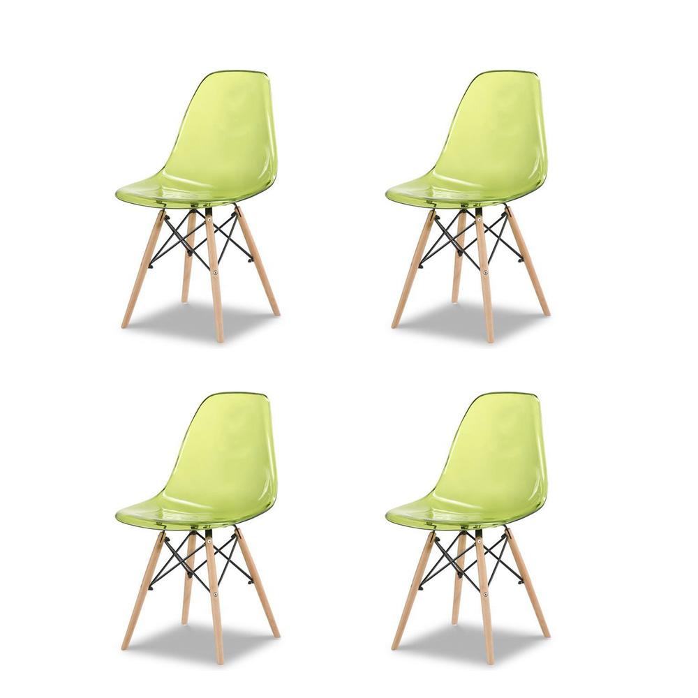 Купить Набор из четырех стульев с зеленым прозрачным сидением, inmyroom, Китай