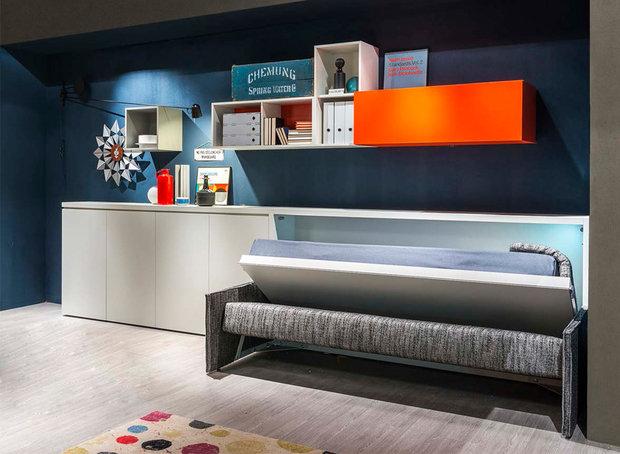 Фотография: Кабинет в стиле Лофт, Современный, Советы, Бежевый, Серый, Мебель-трансформер, кровать-трансформер, диван-кровать – фото на InMyRoom.ru
