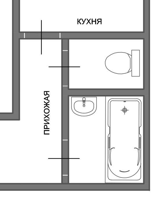Фотография: Спальня в стиле Прованс и Кантри, Ванная, 8, Перепланировка, планировка санузла, санузел в двухкомнатной квартире дома серии 83, перепланировка маленького санузла, планировка для маленького санузла – фото на InMyRoom.ru