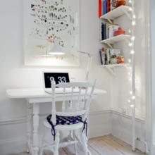 Фотография: Кабинет в стиле Скандинавский, Малогабаритная квартира, Квартира, Цвет в интерьере, Дома и квартиры, Белый – фото на InMyRoom.ru