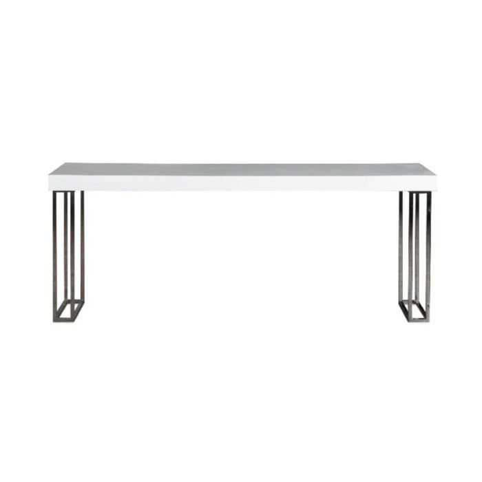 Стол обеденный Glossy white из дерева и металла