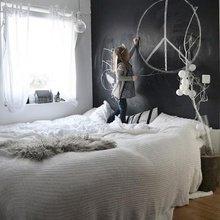 Фотография: Спальня в стиле Скандинавский, Современный, Детская, Интерьер комнат, Обои, Ремонт, Стены, Краска – фото на InMyRoom.ru