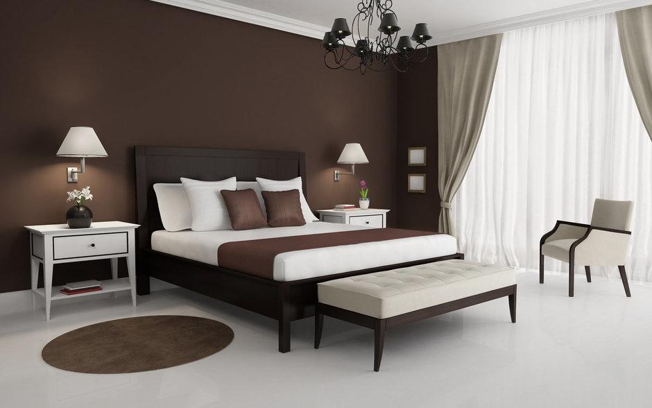 Фотография: Спальня в стиле Классический, Современный, Декор интерьера, Интерьер комнат, Цвет в интерьере, Коричневый – фото на InMyRoom.ru