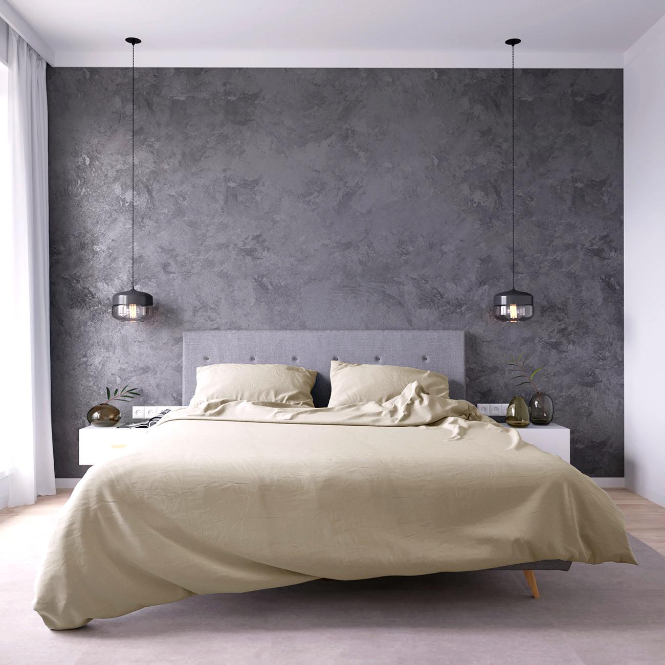 Комплект постельного белья стандарт с простыней на резинке 160х200 кремовый