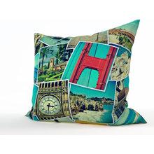 Декоративная подушка: Коллаж путешественника