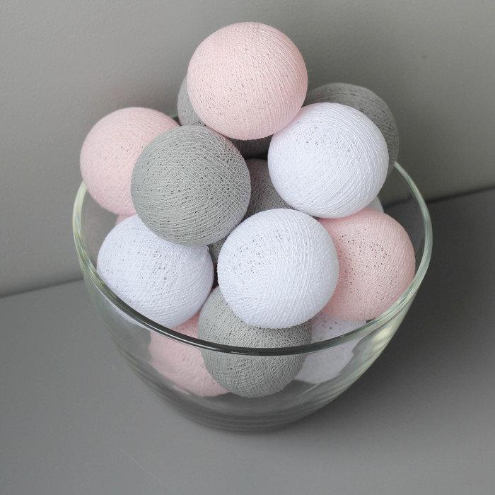 Тайская гирлянда розово-серая от батареек