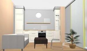 Помогите расставить мебель в микро-кухне-гостиной