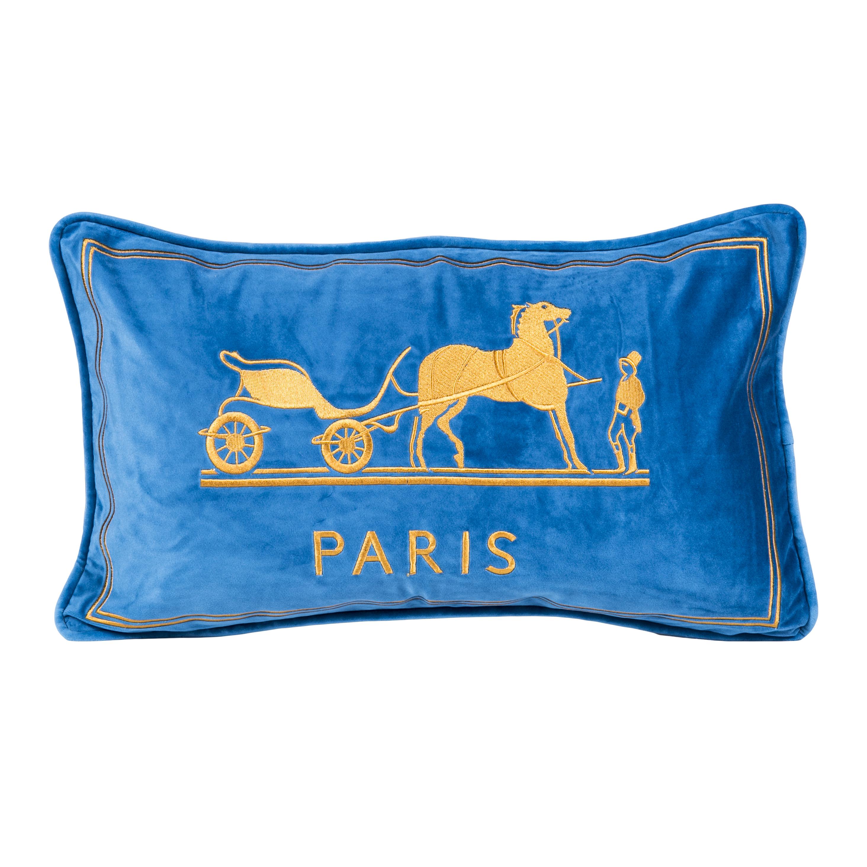 Декоративная подушка Old Paris голубого цвета