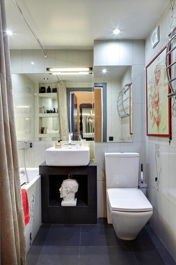 Фотография: Ванная в стиле Лофт, Малогабаритная квартира, Интерьер комнат, Советы – фото на InMyRoom.ru