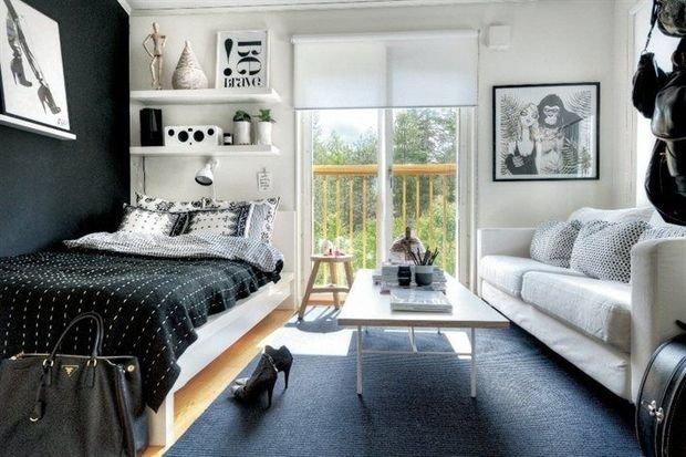 Фотография: Спальня в стиле Современный, Гостиная, Интерьер комнат – фото на InMyRoom.ru