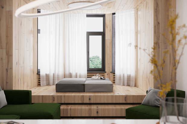 Фотография: Гостиная в стиле Минимализм, Квартира, Проект недели, Geometrium, Более 90 метров, Kronospan – фото на INMYROOM