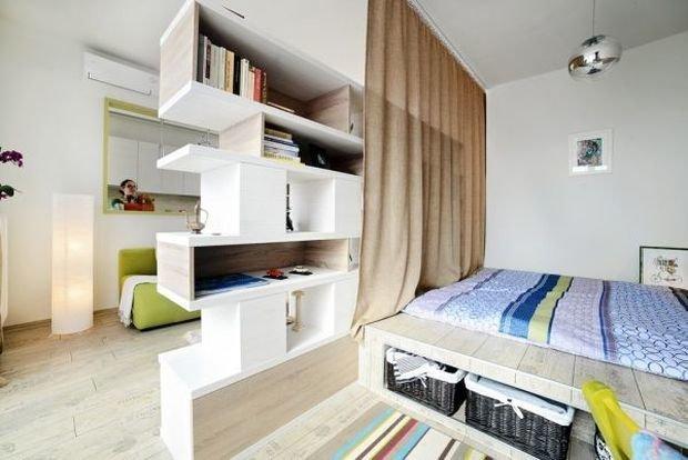 Фотография: Спальня в стиле Скандинавский, Декор интерьера, Малогабаритная квартира, Квартира, Дом, Планировки – фото на InMyRoom.ru