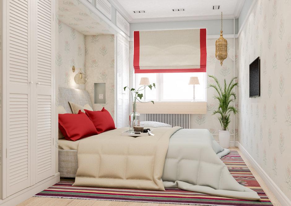 Фотография: Спальня в стиле Современный, Квартира, Проект недели, Марина Саркисян, Московская область, 3 комнаты, 60-90 метров, Монолитно-кирпичный – фото на InMyRoom.ru