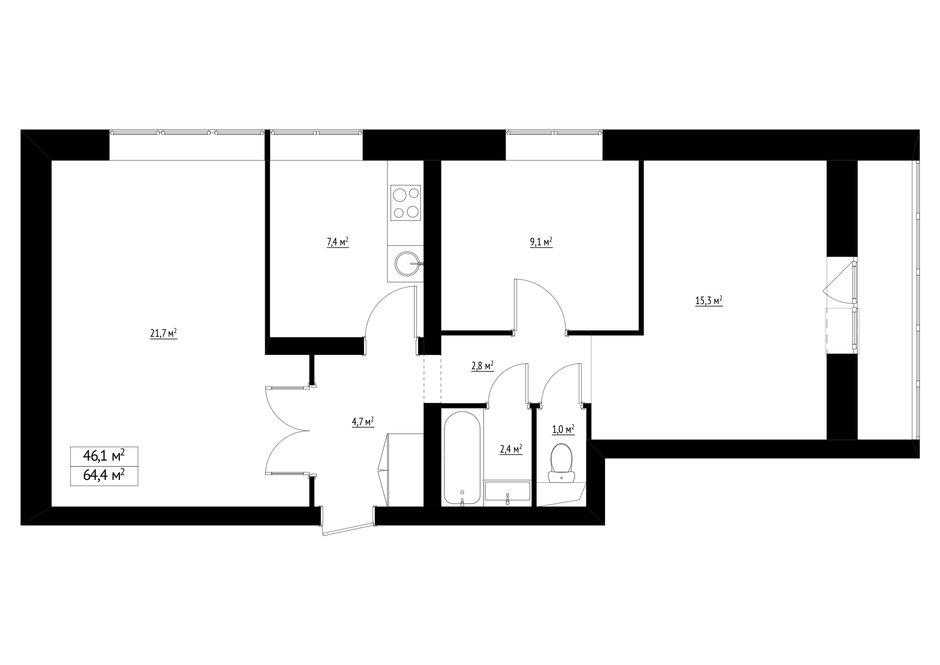 Фотография: Планировки в стиле , Квартира, Перепланировка, Студия Малицких, Марина Лаптева, Блочный дом, 3 комнаты, 60-90 метров, дизайн-баттл – фото на InMyRoom.ru