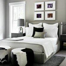 Фотография: Спальня в стиле Скандинавский, Классический, Дом, Цвет в интерьере, Дома и квартиры, Белый, Черный, Серый – фото на InMyRoom.ru