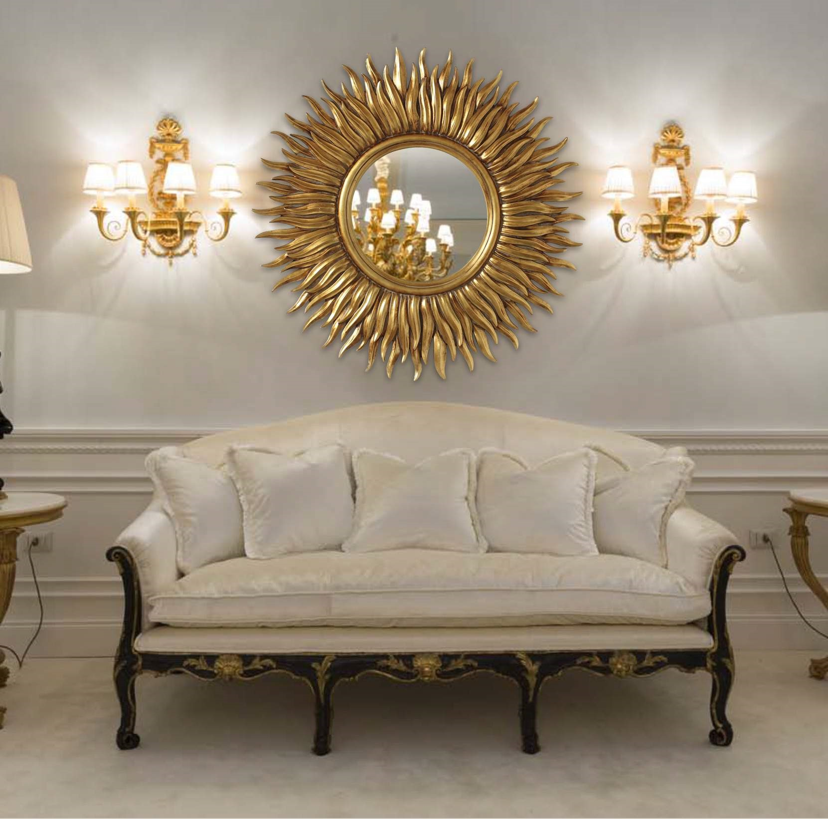 круглое зеркало над диваном фото типа