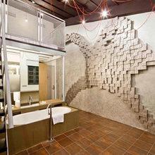 Фотография: Ванная в стиле Лофт, Дома и квартиры, Городские места, Поп-арт, Индустриальный, Неон – фото на InMyRoom.ru