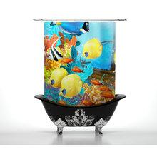 Шторка в ванну: Яркие рыбки