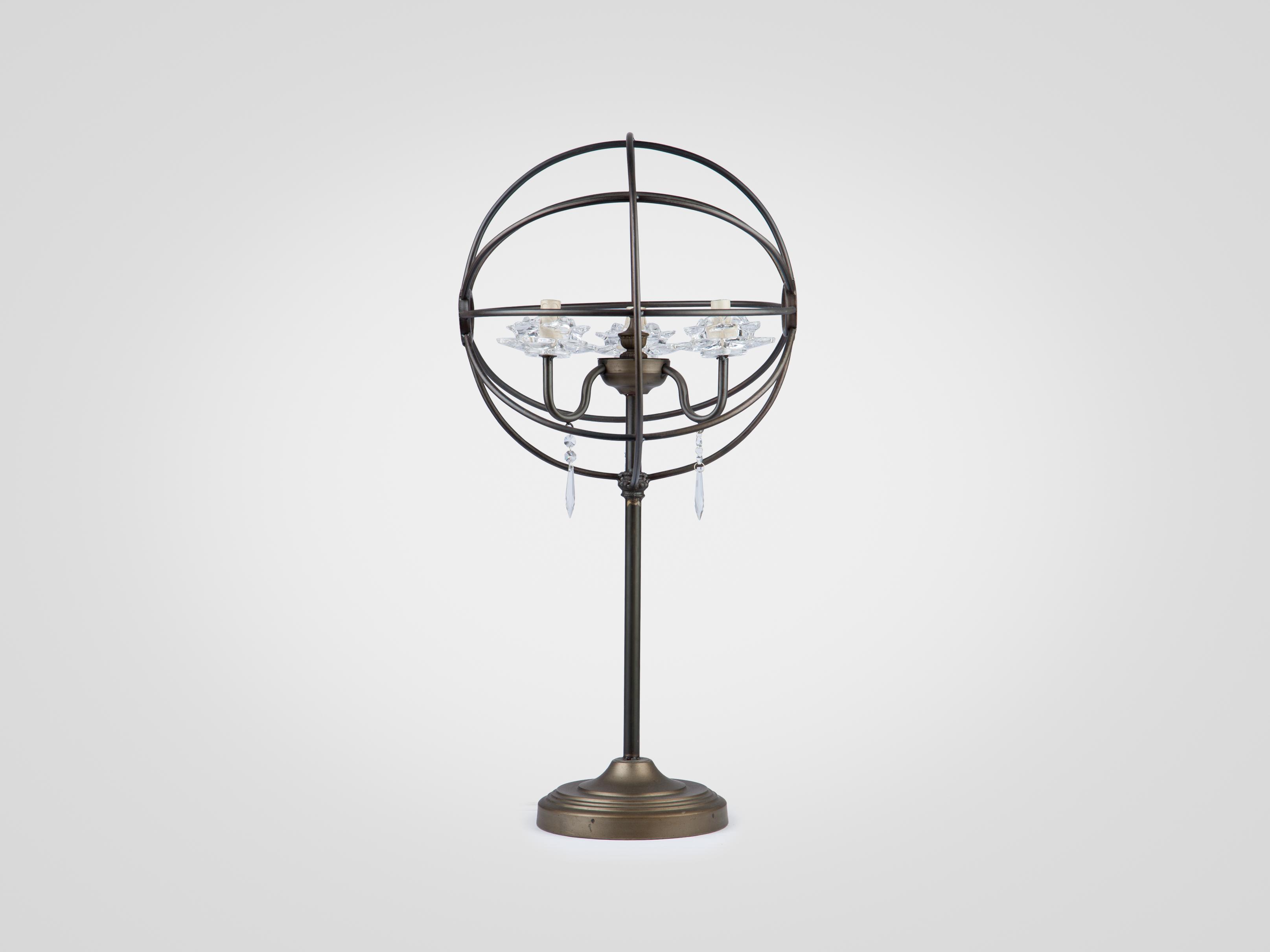 Купить Лампа настольная из металла на высокой ножке, украшеная стеклянным декором, inmyroom, Китай