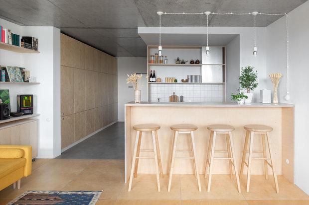 Фотография: Кухня и столовая в стиле Минимализм, Квартира, Студия, Проект недели, Москва, 40-60 метров, Схема – фото на INMYROOM