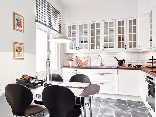 Фотография: Кухня и столовая в стиле Классический, Скандинавский, Современный, Малогабаритная квартира, Квартира, Швеция, Цвет в интерьере, Дома и квартиры, Белый, Гетеборг – фото на InMyRoom.ru