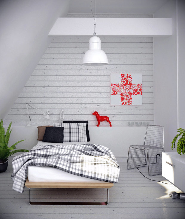 Фотография: Спальня в стиле Скандинавский, Эклектика, Декор интерьера, Декор дома, Цвет в интерьере, Геометрия в интерьере – фото на InMyRoom.ru