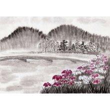"""Дизайнерская картина на холсте """"Розовая поляна"""""""