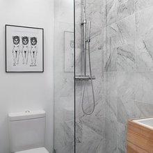 Фотография: Ванная в стиле Современный, Скандинавский, Малогабаритная квартира, Студия, Белый – фото на InMyRoom.ru
