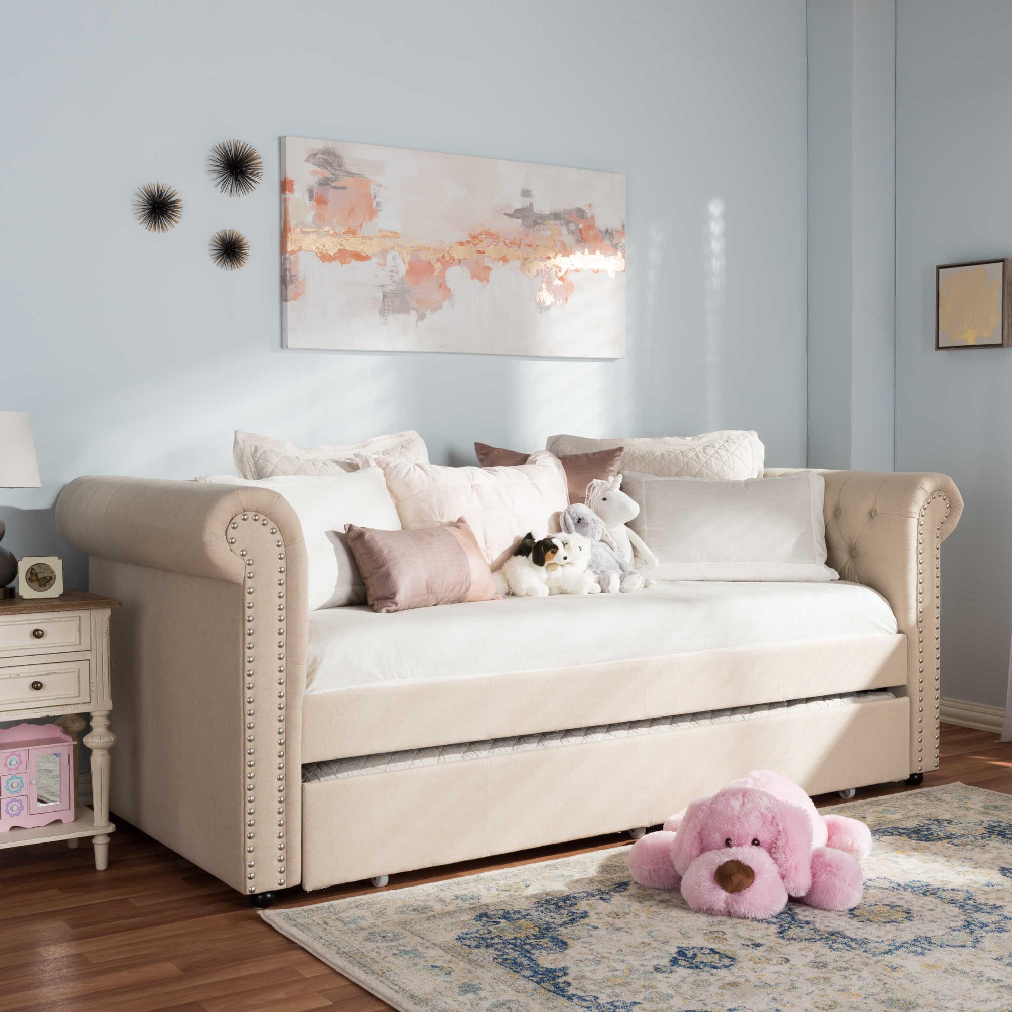 Диван-кровать Chelsy бежевого цвета 90х200