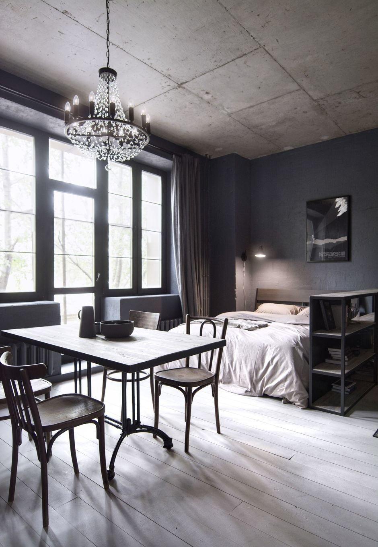 Фотография: Спальня в стиле Лофт, Квартира, Студия, Проект недели, Москва, Кирпичный дом, до 40 метров, INT2architecture – фото на InMyRoom.ru