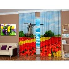 Фотошторы для дома: Мельница и тюльпаны