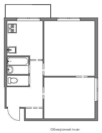 Фотография: Планировки в стиле , Квартира, Проект недели, Москва, Ирина Крашенинникова, Блочный дом, 2 комнаты, до 40 метров, И-210 – фото на InMyRoom.ru