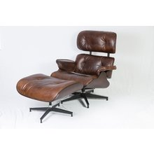 Кожаное кресло с пуфом Лаунж Эймс