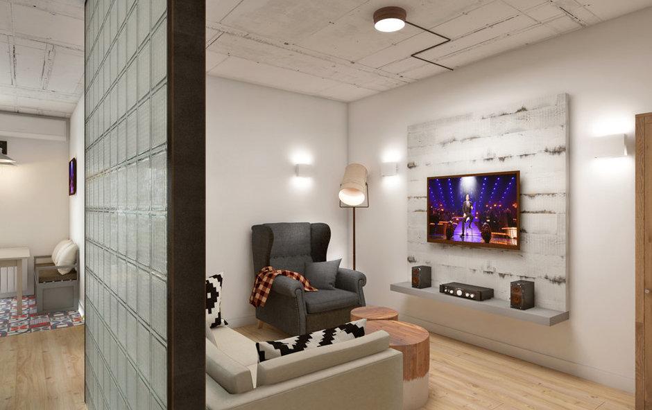 Фотография: Гостиная в стиле Лофт, Минимализм, Эклектика, Квартира, Проект недели, ИКЕА, Circle Line – фото на InMyRoom.ru