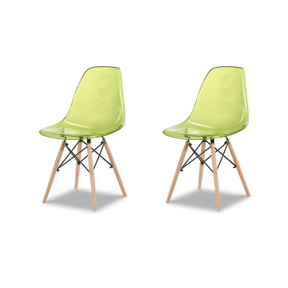 Купить Набор из двух стульев с зеленым прозрачным сидением, inmyroom, Китай