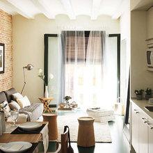 Фотография: Кухня и столовая в стиле Современный, Малогабаритная квартира, Квартира, Цвет в интерьере, Дома и квартиры, Зеленый – фото на InMyRoom.ru
