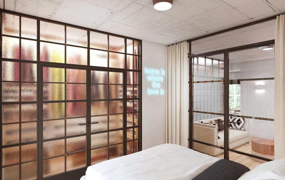 Фотография: Спальня в стиле Лофт, Минимализм, Эклектика, Квартира, Проект недели, ИКЕА, Circle Line – фото на InMyRoom.ru