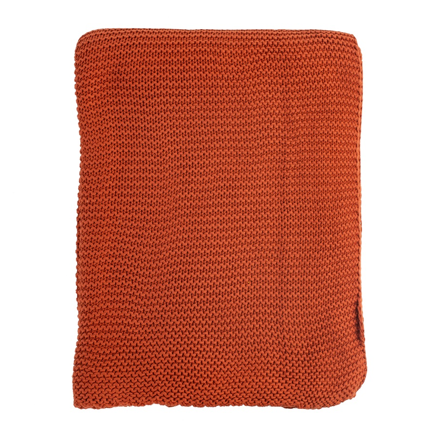 Плед жемчужной вязки терракотового цвета 180х220