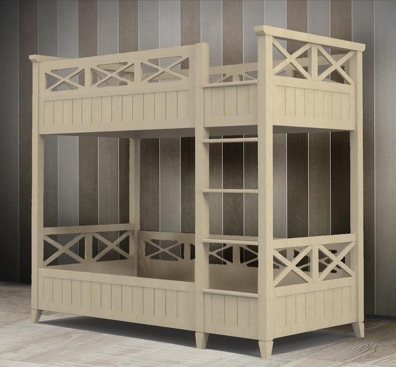 Кровать детская двухэтажная из массива бука 90х190