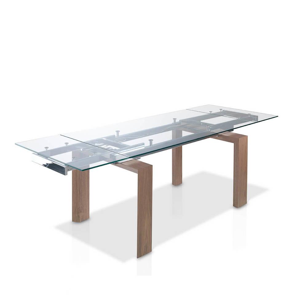 Купить со скидкой Раскладной обеденный стол Natural со стеклянной столешницей