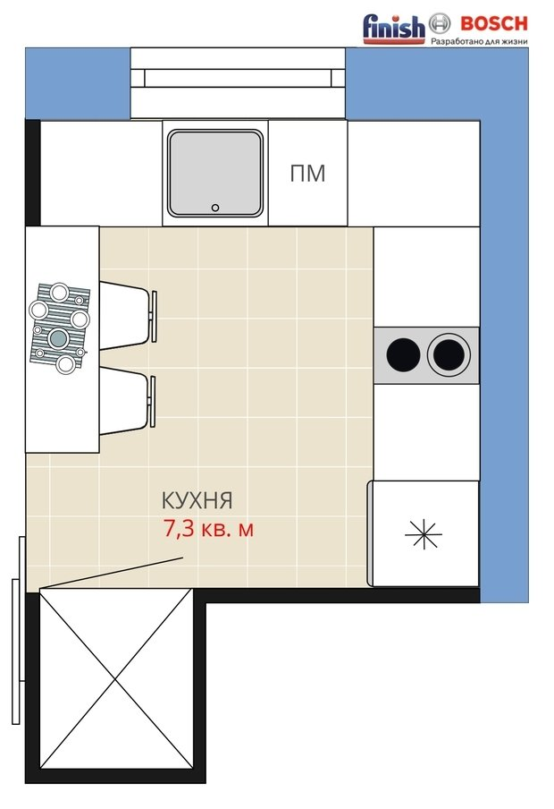 Фотография:  в стиле , Кухня и столовая, Квартира, BOSCH, Перепланировка, Анастасия Киселева, Максим Джураев, Хрущевка, Кирпичный дом, Finish, 1 комната, до 40 метров – фото на InMyRoom.ru
