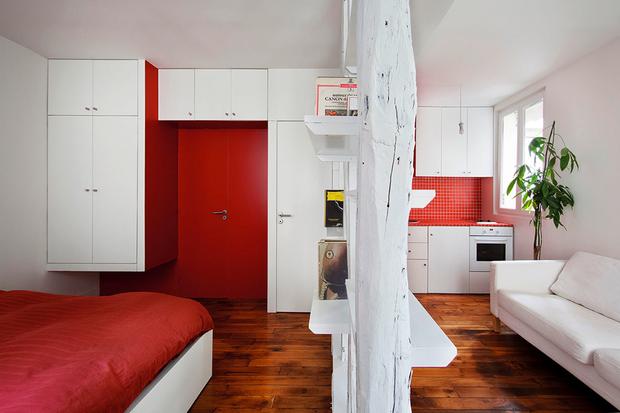 Фотография: Гостиная в стиле Современный, Малогабаритная квартира, Квартира, Дома и квартиры, Париж – фото на InMyRoom.ru