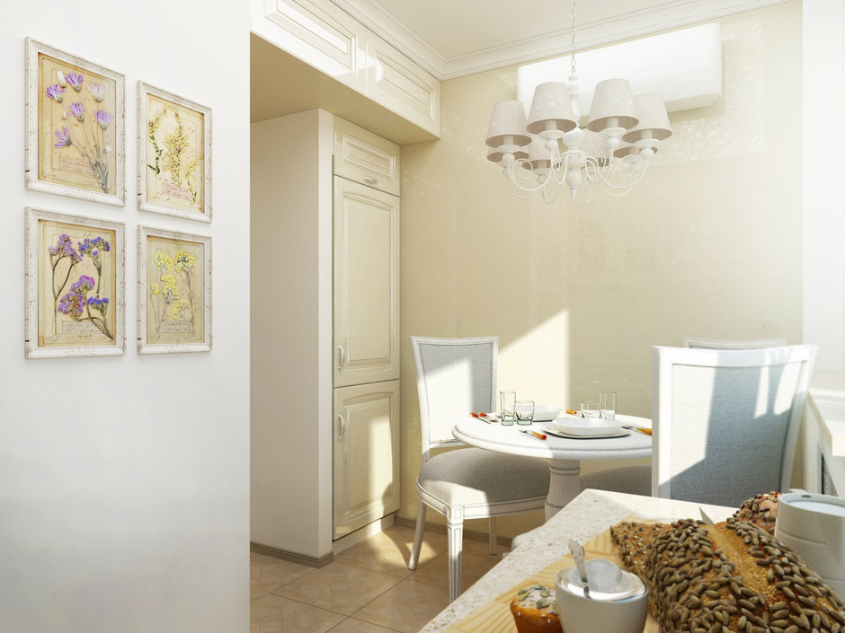 Фотография: Кухня и столовая в стиле Прованс и Кантри, Малогабаритная квартира, Квартира, Дома и квартиры, Проект недели, Москва – фото на InMyRoom.ru