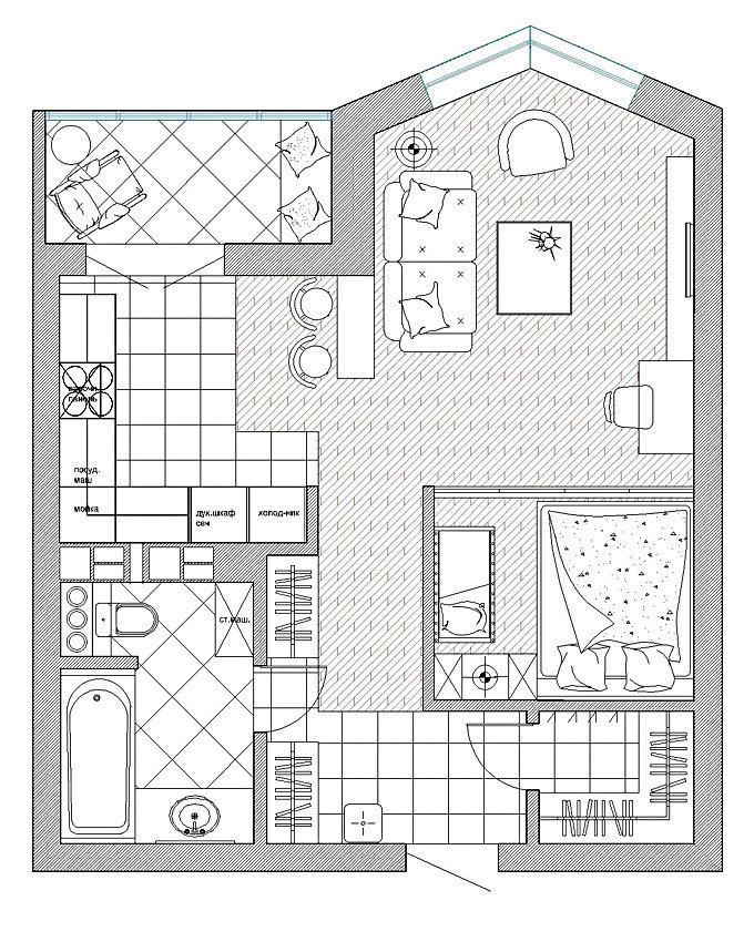 Фотография: Планировки в стиле , Малогабаритная квартира, Квартира, Дома и квартиры, Проект недели, Перепланировка – фото на InMyRoom.ru