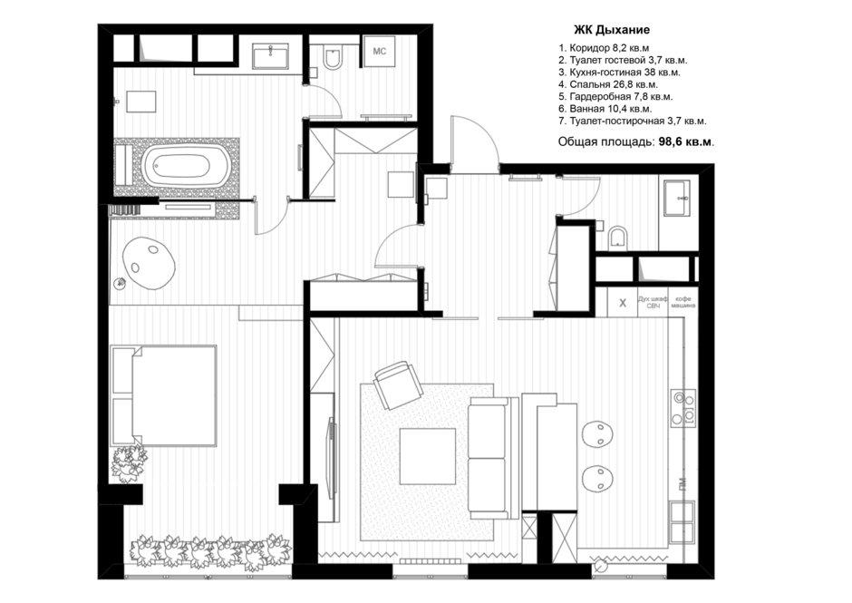 Фотография: Планировки в стиле , Квартира, Проект недели, Москва, Эко, Монолитный дом, 2 комнаты, 60-90 метров, Анна Морозова, ЖК «Дыхание» – фото на InMyRoom.ru