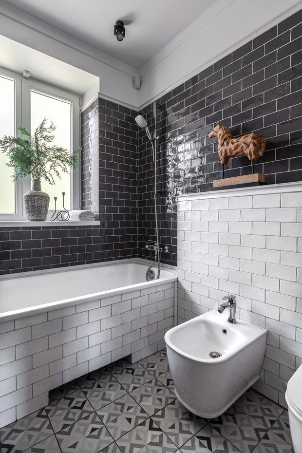 Фотография: Ванная в стиле Эклектика, Квартира, Проект недели, Новосибирск, Кирпичный дом, 3 комнаты, 60-90 метров, Дарья Шапошникова – фото на INMYROOM