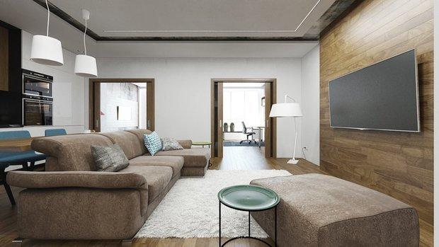Фотография: Гостиная в стиле Современный, Декор интерьера, DIY, Малогабаритная квартира, Квартира, Белый, Бежевый, Серый – фото на InMyRoom.ru