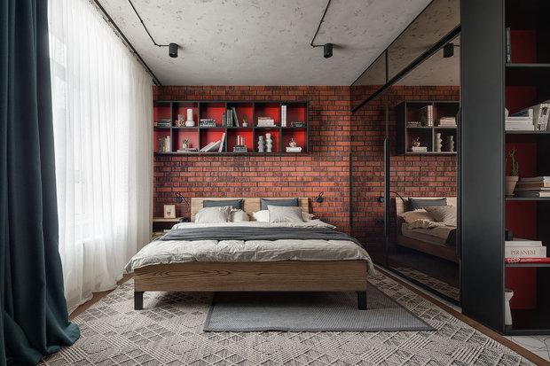 Фотография: Спальня в стиле Лофт, Современный, Квартира, Проект недели, Киев, 2 комнаты, 60-90 метров, Евгения Сытник – фото на INMYROOM
