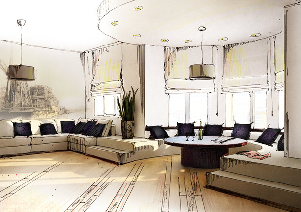 Фотография: Гостиная в стиле Современный, Интерьер комнат, Тема месяца, Шторы – фото на InMyRoom.ru